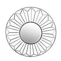 Silver Leaf Round Wall Mirror, 42 in.