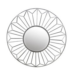 Silver Leaf Round Wall Mirror, 42 in.