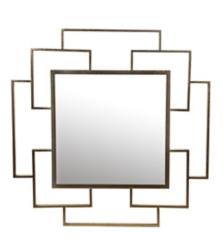 Modern Gold Leaf Square Mirror, 36x36 in.