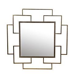 Modern Gold Leaf Square Mirror, 36x36 in.
