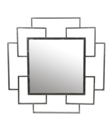 Modern Silver Leaf Square Mirror, 36x36 in.