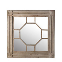 Wood Carved Cutout Square Mirror, 40x40 in.