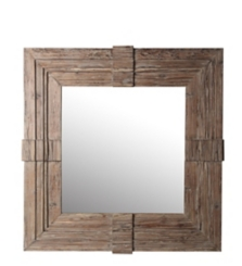 Square Wood Carved Mirror, 37x37 in.