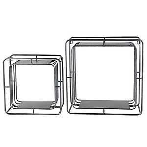 Metal Iron Cube Wall Shelves, Set of 2