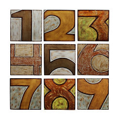 Numbered 1-9 Wooden Block Wall Plaques, Set of 9