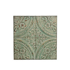 Distressed Green Metal Embossed Wall Plaque