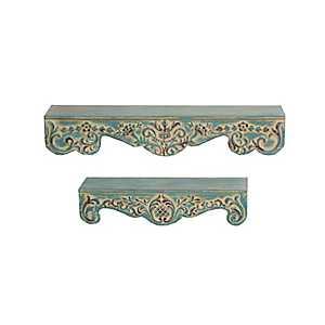 Ornate Scroll Metal Wall Shelves, Set of 2