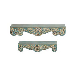 Ornate Scroll Metal Wall Shelves, Set of 2