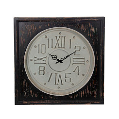 Metal and Distressed Wood Wall Clock