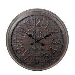 Old Town Brown Metal Wall Clock