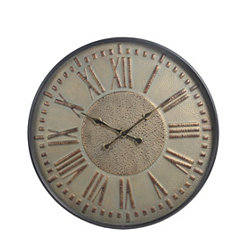 Embossed Metal and Glass Wall Clock