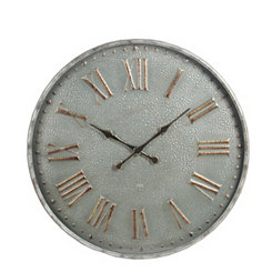 Gray Metal and Glass Wall Clock