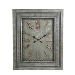 Gray Wood Frame with Metal Face Wall Clock