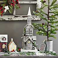 Wooden Christmas Church LED Statue