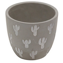 Gray Embossed Cactus Cement Planter