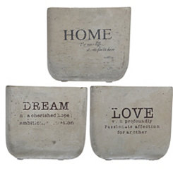 Cement Sentiment Planters, Set of 3
