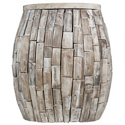 Driftwood Barrel Accent Table