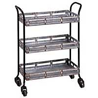 Galvanized Metal 3-Tier Rolling Cart