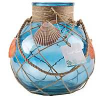 Blue Glass Lantern with Net and Shells