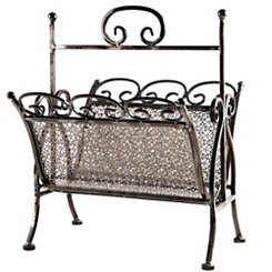 Bronze Pierced Metal Magazine Rack