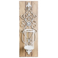 Distressed Metal on Wood Plank Sconce