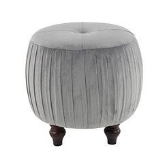 Gray Pleated Round Ottoman