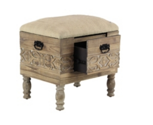 Cushioned Stool with Drawer