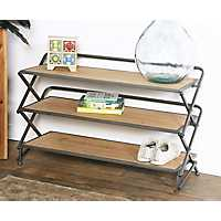 Accordion 3-Tier Metal and Wood Shelf