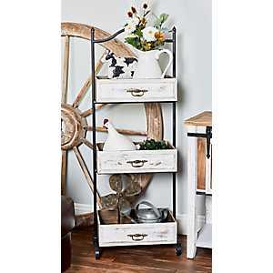 Distressed Wood Tray 3-Tier Shelf