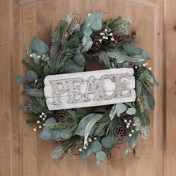 Glitter Peace Wooden Plaque