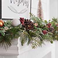 Pre-Lit Metallic Ornament Christmas Garland