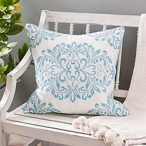 Light Blue Oversized Leaf Scroll Linen Pillow