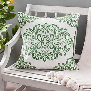 Green Oversized Leaf Scroll Linen Pillow