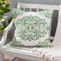 Green Oversized Leaf Scroll Linen Pillow
