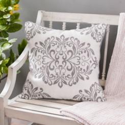 Gray Oversized Leaf Scroll Linen Pillow