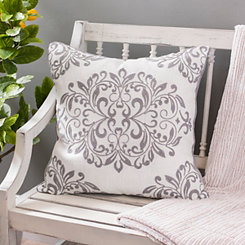 Gray Oversized Leaf Scroll Linen Pillow