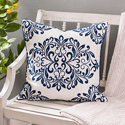 Navy Oversized Leaf Scroll Linen Pillow