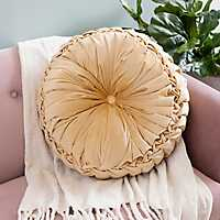 Round Solid Gold Pintuck Pillow