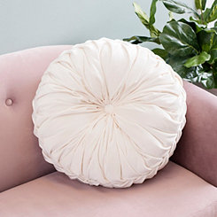 Round Solid White Pintuck Pillow