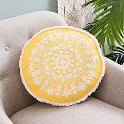 Yellow Round Embroidered Accent Pillow
