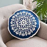 Navy Round Embroidered Accent Pillow