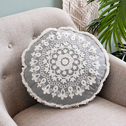 Gray Embroidered Round Accent Pillow