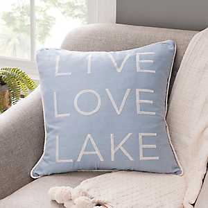 Live Love Lake Navy Linen Pillow