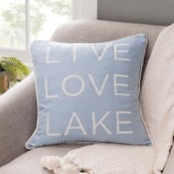 Live Love Lake Navy Linen Pillow
