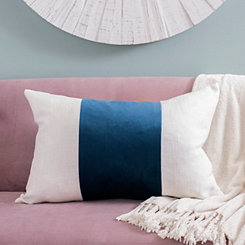 Navy Wide Striped Velvet Accent Pillow