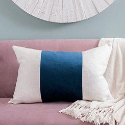 Navy Wide Striped Velvet Accent Pillow