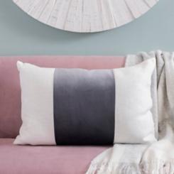Gray Wide Striped Velvet Accent Pillow