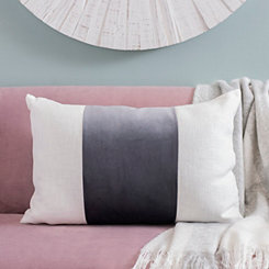 Gray Wide Striped Velvet Accent Pillow