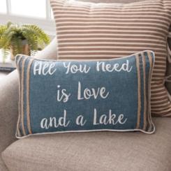 Blue Lake House Sentiment Accent Pillow