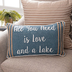 Blue Lake House Sentiment Accent Pillow